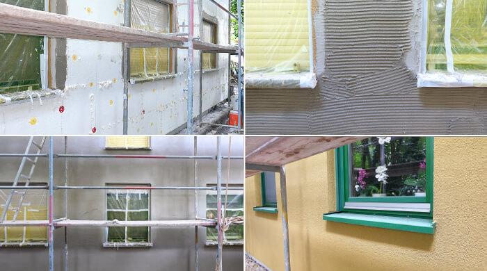 Arbeitsschritte beim Anbringen eines Wärmedämmverbundsystems mit EPS-Dämmung und mineralischem Putz