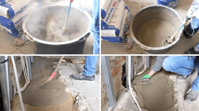 Zementestrich wird bei Sanierungsarbeiten auf einer Baustelle angerührt, eingebracht und von Hand geglättet.
