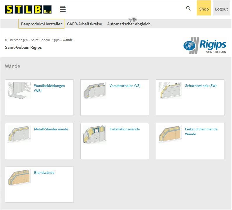 Screenshot: Rigips-Mustervorlagen im STLB-Bau