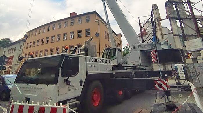 """Baustelle im Sanierungsgebiet """"Innenstadt"""" in Weimar"""