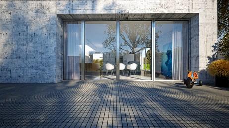 Modernes Einfamilienhaus mit Außenwänden in Sichtbeton