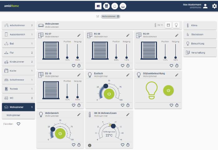 Oberfläche der Fa. ambiHome zur Steuerung eines Smart Home-Systems