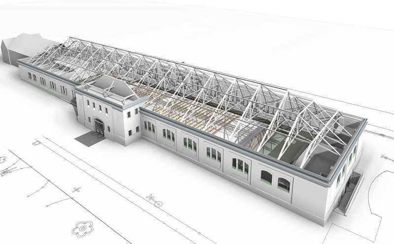 3D Darstellung der mit Revit geplanten Multifunktionssporthalle /ehemals Reithalle