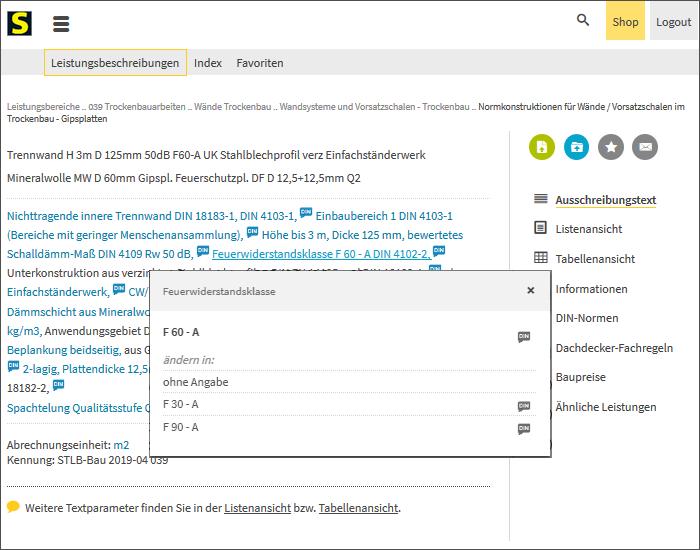 Screenshot: STLB-Bau online, Ausschreibungstext für eine Leistungsbeschreibung