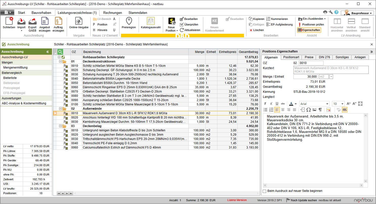 Beispiel: Leistungsverzeichnis für die Ausschreibung mit nextbau