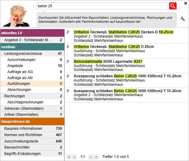 Screenshot: Suchergebnis Bauprofessor in der Software nextbau