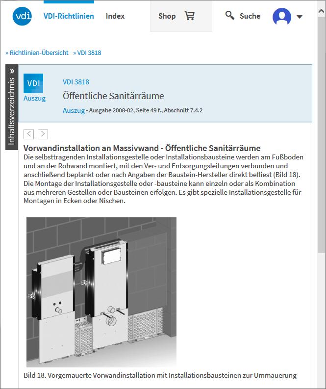 Screenshot: VDI-Baulexikon, VDI 3818, öffentliche Sanitärräume