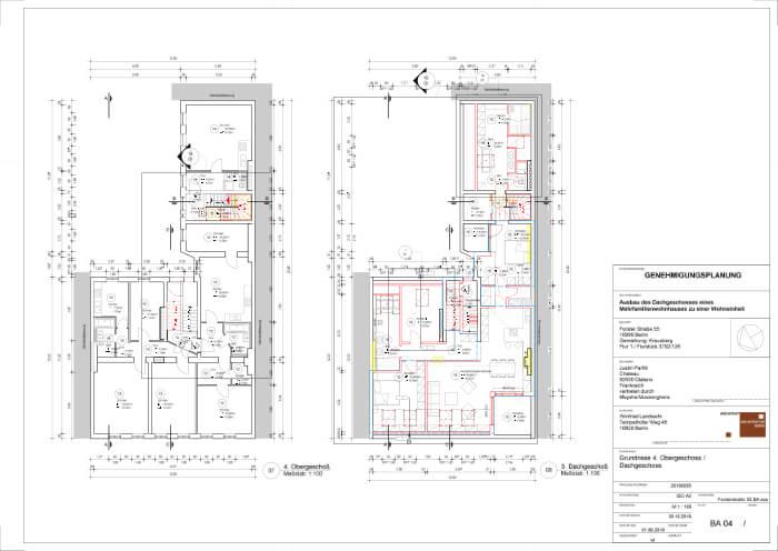 Genehmigungsplanung von Winfried Landwehr für den Ausbau eines Dachgeschosses zu einer Wohneinheit in einem Mehrfamilienhaus