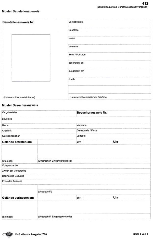 Baustellenausweis - Muster nach Formblatt 421 VHB-Bund