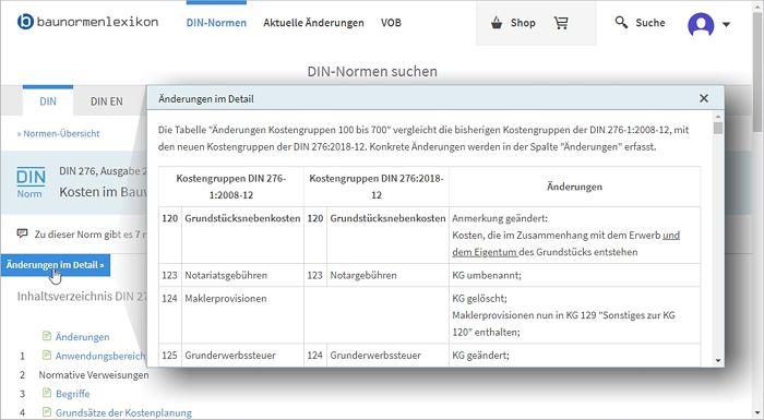 Änderungen im Detail der DIN 276: 2018-12 auf baunormenlexikon.de