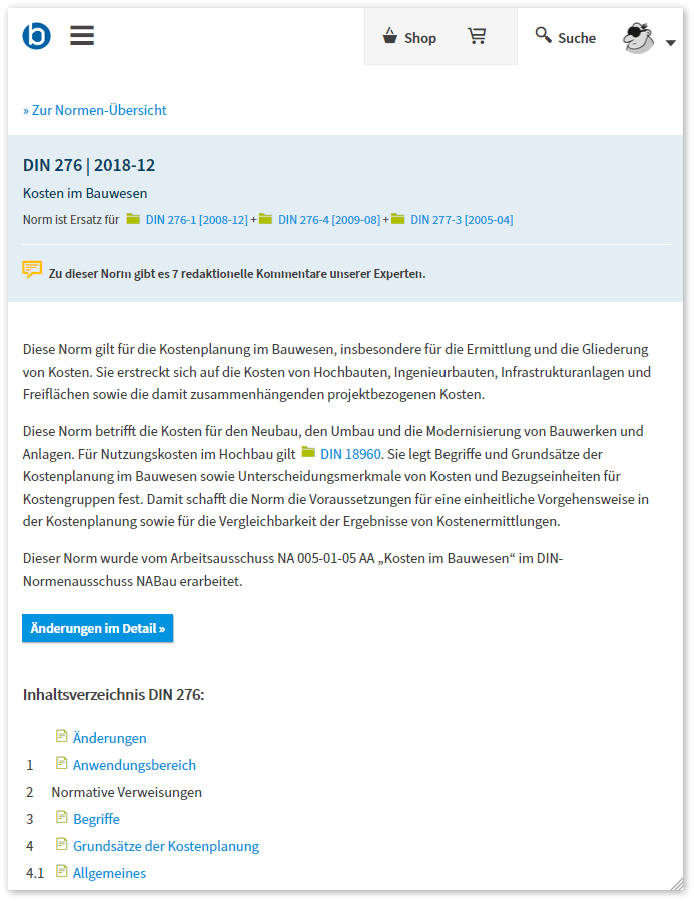 DIN 276 online bei baunormenlexikon.de