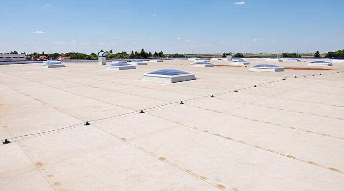 PVC-P-Dachabdichtungsbahnen auf einem Flachdach