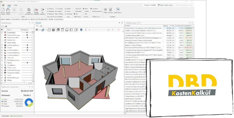 Mengen und 3D aus Grundrissen als JPG, PDF…