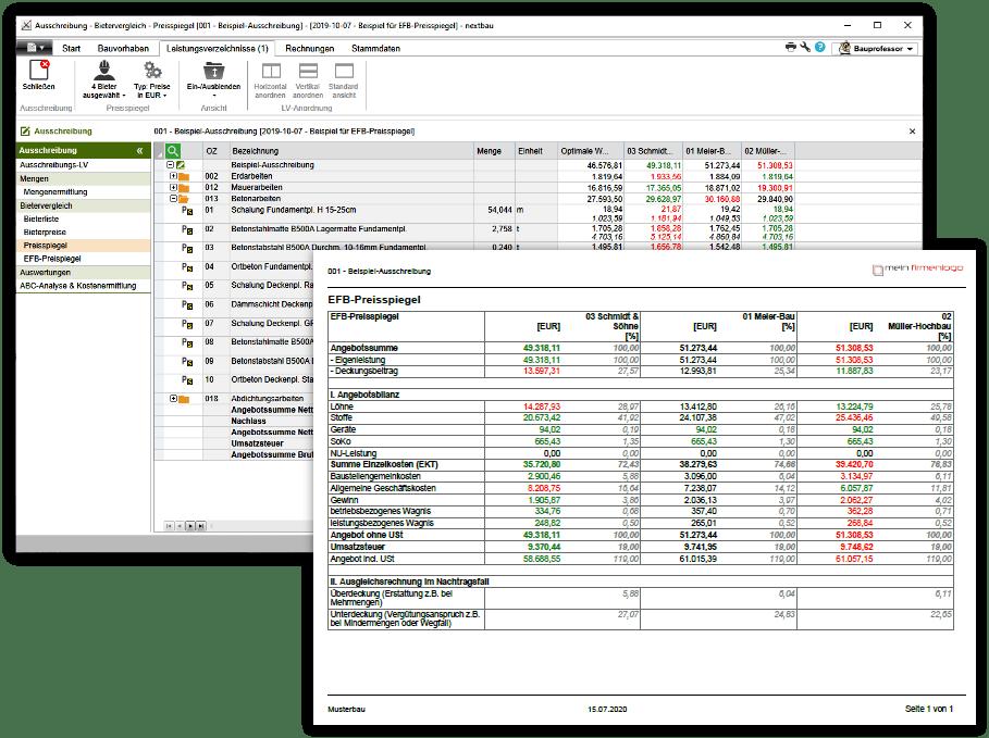 Preisspiegel und EFB-Preisspiegel mit nextbau