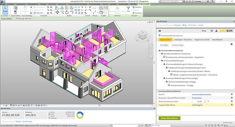 DBD-BIM in Revit: Baukosten für selektierte Bauteile werden direkt angezeigt.