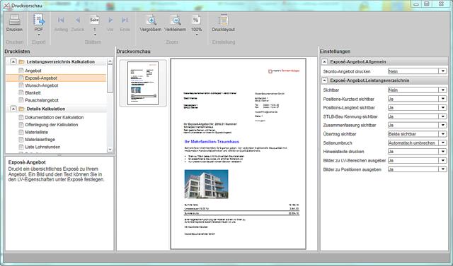 Abbildung: Exposé-Druckvorschau in der Angebotssoftware nextbau