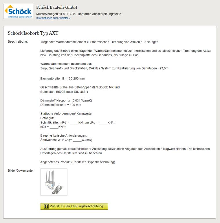 Screenshot: Schöck Bauteile mit STLB-Bau konformen Ausschreibungstexten
