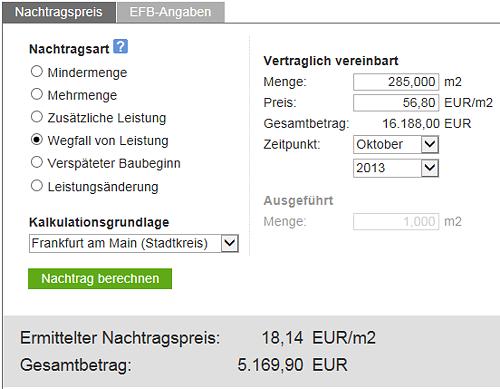 Nachtragspreisermittlung bei Wegfall von Leistungen mit Baupreislexikon.de