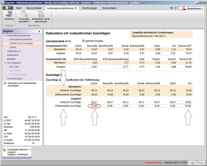 Kalkulation mit vorbestimmten Zuschlägen