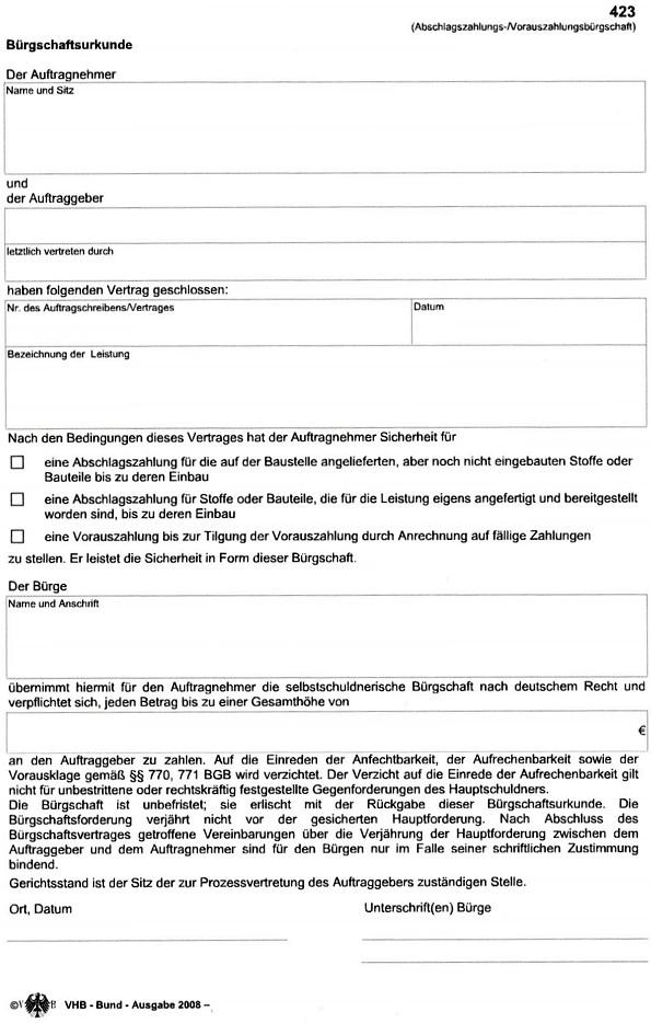 Vorauszahlungsbürgschaft (Formblatt 423) als Kombi- Bürgschaft