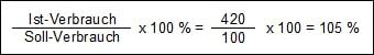 Formel und Beispielberechnung Mehrverbrauch