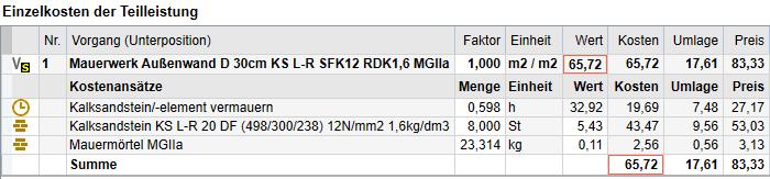 Screenshot: DBD-KostenAnsätze zum beschriebenen Beispiel