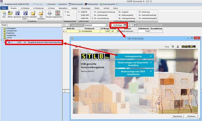 Screenshot: GAEB-Konverter inklusive Schnittstelle zum STLB-Online