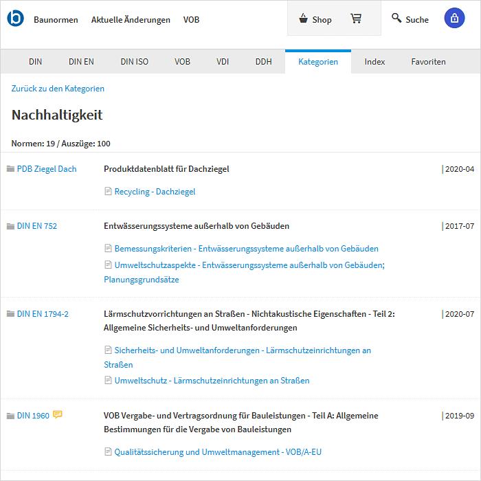 Screenshot: Kategorie Nachhaltigkeit in baunormenlexikon.de