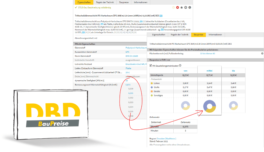 DBD-BauPreise folgen dynamisch Ihrer Leistungsbeschreibung