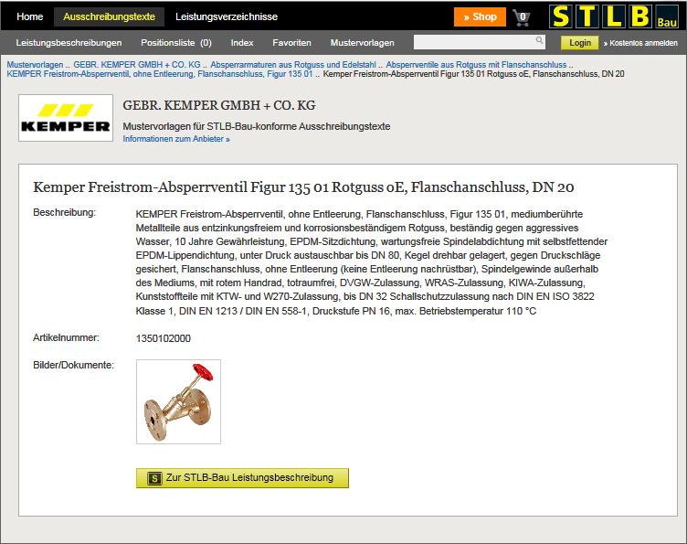 Screenshot: KEMPER Armaturen vernetzt mit STLB-Bau Ausschreibungstexten